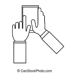 toucher, appareil, app, smartphone, contour
