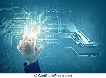toucher, bouton, avenir, technology., inerface