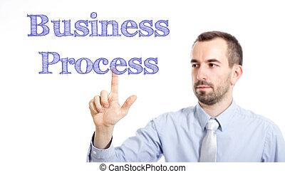 toucher, business, texte, homme affaires, processus, jeune, -, barbe, petit
