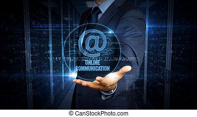 toucher, courrier, écran, hologramme, homme affaires