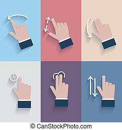 toucher, devices., geste, icônes