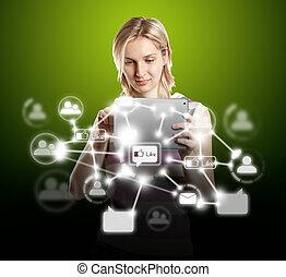 toucher, femme affaires, tampon, réseau, social