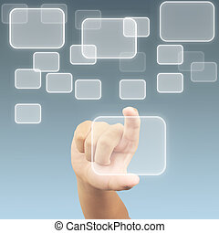 toucher, garder, écran, bouton, main