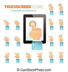 toucher, gestes, écran, icônes