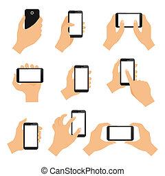 toucher, gestes, écran, main