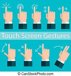 toucher, gestes, écran