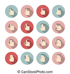 toucher, gestes, ensemble, main, icônes