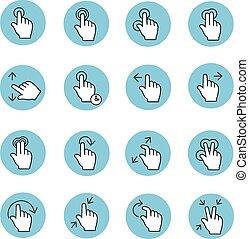 toucher, gestes, icônes