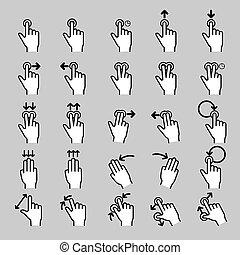 toucher, gestes, ligne, ensemble, icônes