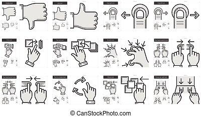 toucher, gestes, ligne, set., icône
