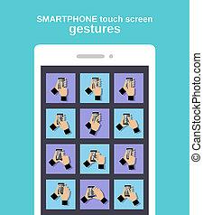 toucher, gestes, smartphone