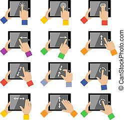 toucher, gestes, tablette