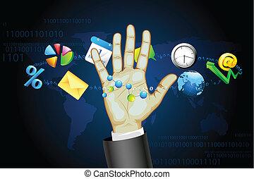 toucher, homme affaires, écran, interactif