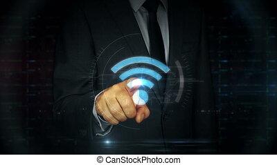 toucher, homme affaires, écran, wi-fi, hologramme