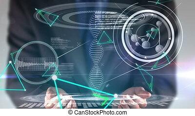 toucher, homme, virtuel, interface