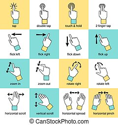 toucher, interface, gestes, ligne fixe