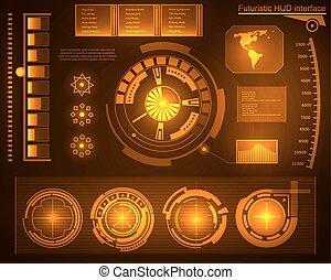 toucher, interface, graphique, hud., utilisateur