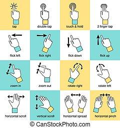 toucher, interface, ligne, gestes, plat