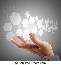 toucher, interface, pousser, virtuel, écran, main