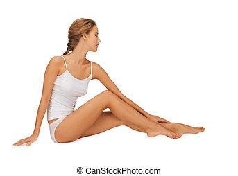 toucher, jambes, elle, undrewear, femme, coton