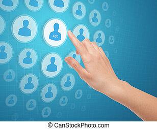 toucher, média, mains, icône, social