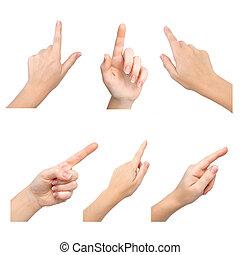 toucher, mains, isolé, femme, quelque chose