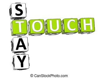 toucher, mots croisés, séjour