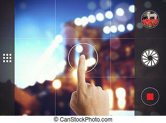 toucher, photographie, écran