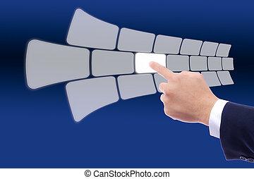 toucher, poussée bouton, écran, main
