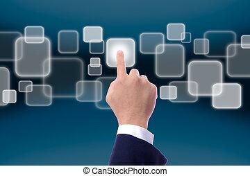toucher, pousser, écran, main, bouton