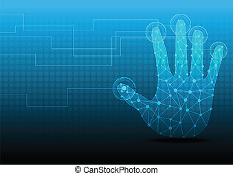 toucher, presse, bouton, écran, main