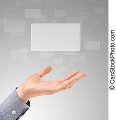 toucher, proposer, écrans, main
