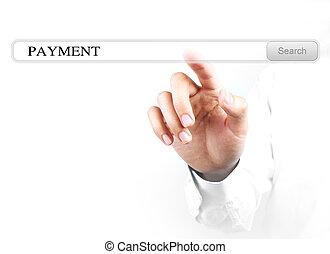 toucher, recherche, barre, paiement