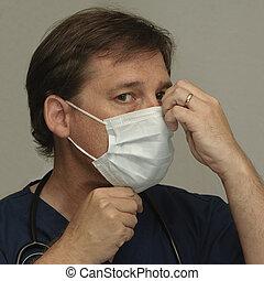 toucher, sien, masque, docteur