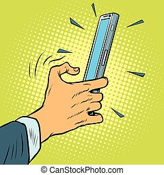 toucher, smartphone, geste