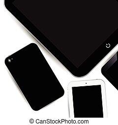 toucher, surface travail, téléphone, pad.