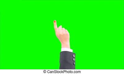 toucher, téléphone, écran, gestes, vert