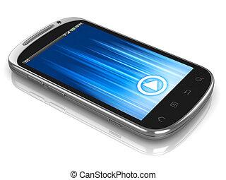 toucher, téléphone, écran, intelligent, téléphone