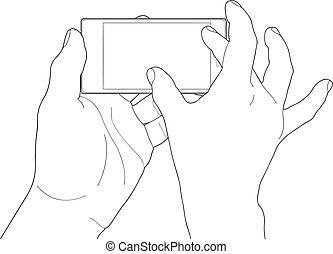 toucher, téléphone, gestes