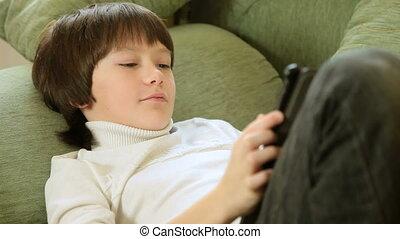 toucher, utilisation, écran, tablette, enfant