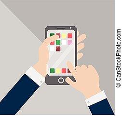 toucher, utilisation, smartphone