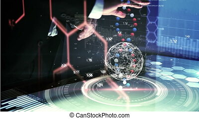 toucher, virtuel, homme, interface