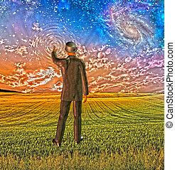 touchers, créer, ciel, ondulations, complet, homme