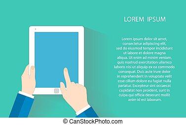 touchers, eps10, pc, screen., illustration, une, touchpad, vecteur, doigt, tenant main