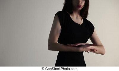 touchers, femme, elle, jeune, main, paume