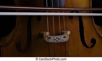 touchers, haut, arc, violoncelle, fin, instruments à cordes