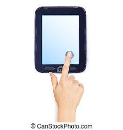 touchers, réaliste, tablet., écran, isolé, illustration, main, arrière-plan., vecteur, blanc