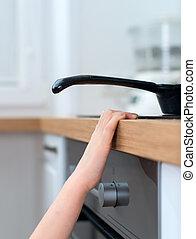touchers, stove., dangereux, chaud, enfant, situation,...