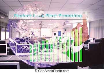 touching 4p marketing concept   on virtual screen vintage tone , image element furnished by NASA