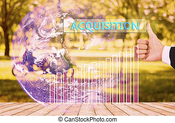 touching acquisition  on virtual screen vintage tone , image element furnished by NASA
